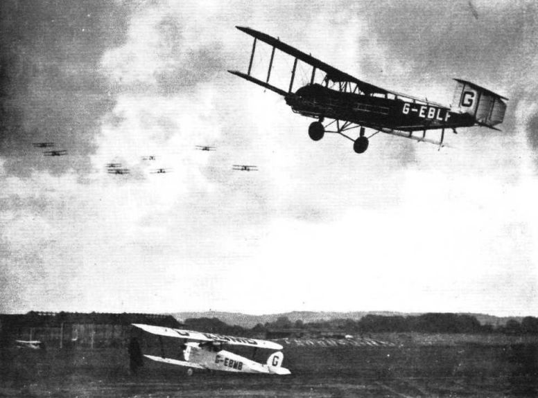 Hawker 'Cygnet' light 'plane taking off, with the Armstrong-Whitworth 'Argosy'.jpg