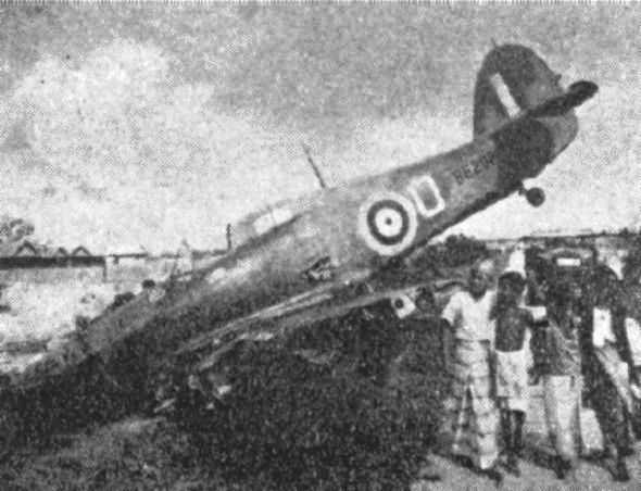 Hawker Hurricane Mk.II of 232 Squadron shot down on 8 February 1942 during the Battle of Singapore.j