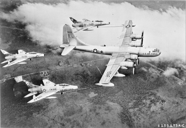 A USAF KB-50D of the Air Proving Ground Command at Eglin AFB Florida, carrying out the first triple-